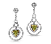 Yellow Diamond Dangle Earrings - Rent Jewelry | Rental Price - $430.00