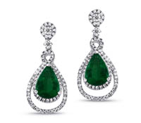 rent fine jewelry - Diamond Emerald Chandelier Earrings | Rental Price - $160.00