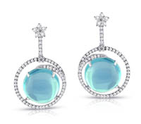 Blue Topaz Diamond Earrings - Rent Jewelry | Rental Price - $235.00