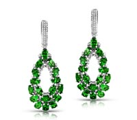 Tsavorite Diamond Dangle Earrings -Rent Jewelry | Rental Price - $260.00