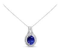 Tanzanite Diamond Oval Pendant - Rent Jewelry | Rental Price - $195.00