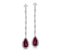 Pink Rubilite Drop Diamond Earrings - Rent Jewelry | Rental Price - $185.00