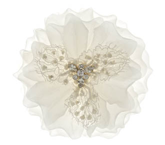 Rent jewelry - Flower of Silk with beaded Lace | Crystal Trim | White | 4 inches in diameter