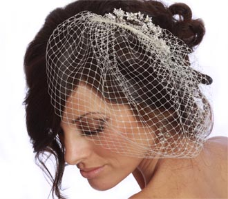 Rent jewelry - French Veiling | Height 10 Inches | Width 11 inches | Comb Width 4 inches (Swarovski Crystal hair comb shown is sold separately)