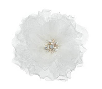 Rent jewelry - Silk Net | Swarovski Crystals | Pearls | Ivory | 4 1/2 inches in diameter