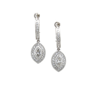 Rent jewelry - Diamonds: 1.08 TW | Gold: 18K White | Post & Clip | Length: 1 in. | Width: 3/8 in.