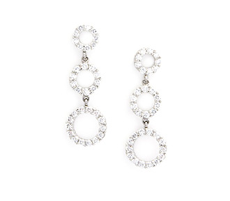 Rent jewelry - Diamonds: 1.35 TW | Gold: 14K White | Post | Length: 1 1/4 in. | Width: 7/16 in.