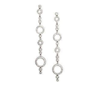 Bridal Jewelry  Dangle Circle Diamond Earrings  White Gold 04f9cfb78d
