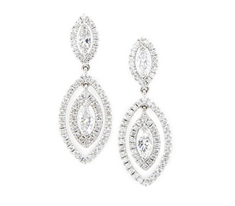 Rent jewelry - Diamonds: 1.87 TW | Gold: 18K White | Post | Length: 1 2/8 in. | Width: 1/2 in.
