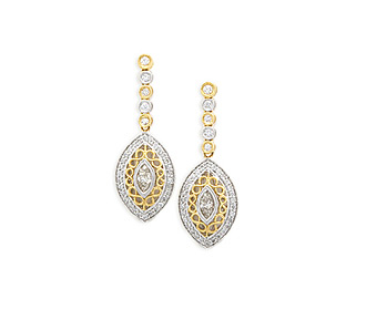 Rent jewelry - Diamonds: 1.27 TW | Gold: 18K White & Yellow | Post | Length: 1 3/8 in. | Width: 1/2 in.