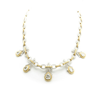 Rent jewelry - Diamonds: 6.16 TW | Gold: 18K White & Yellow | Length: 16 in. | Ornament: 2 1/4 in.