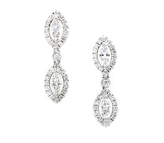 Rent jewelry - Diamonds: 1.42 TW | Gold: 18K White | Post | Length: 1 in. | Width: 2/8 in.