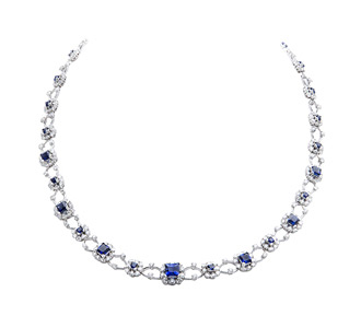 Rent jewelry - Diamonds: 7.98 TW | Sapphires: 5.79 TW | Gold: 18K White | Length: 16 in. | Ornament: 3/8 in.