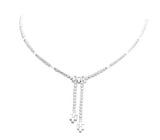 Rent jewelry - Diamonds: 6.0 TW | Gold: 14K White | Length: 17 in. | Tassle Length: 2 in.