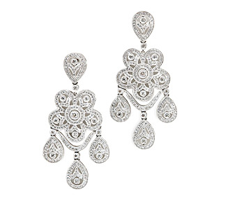 Rent jewelry - Diamonds: 2.39 TW | Gold: 18K White | Length: 2  1/8 in. |  ** not heavy, very light to wear