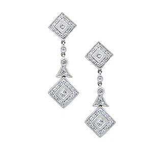 Rent jewelry - Diamonds:  .6 TW | Gold: 18K White | Length: 1 1/4 in.