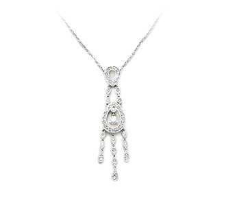 Rent jewelry - Diamonds: 1.03 TW | Gold: 18K White | Length: 17 in. | Pendant Length: 2 1/8 in.