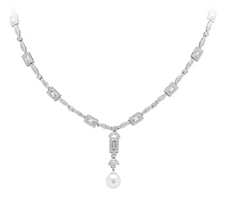 Rent jewelry - Diamonds: 2.21 TW | Gold: 18K White | Length: 16 in.  | Center Length: 1  1/4 in. | Center Width: 6/16 in.