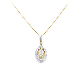 Rent jewelry - Diamonds: .49 TW | Gold: 18K White & Yellow | Length: 17 in. | Pendant Length: 1 in.