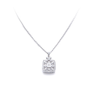 Bridal jewelry vintage diamond pendant necklace in white gold at rent jewelry diamonds 43 tw gold 18k white length mozeypictures Image collections