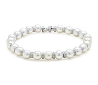 Borrow Special Occasion Jewelry! Pearl & Diamond Bracelet Strand | Rental Price - $160.00