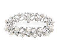 Rent Occasion Fine Jewely: Pearl Diamond Bracelet | Rental Price - $190.00