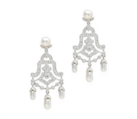 Pearl & Diamond Chandelier Earrings - Rent Special Occasions Jewelry | Rental Price - $140.00