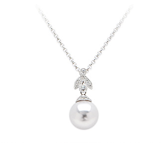 winterson diamond button white with freshwater pearl pendant and gold