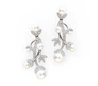 Fine Occasion Jewelry Rentals - Budding Diamond Pearl Earrings  | Rental Price - $130.00