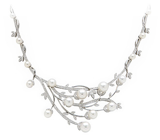 Rent jewelry - Diamonds: 1.48 TW | Gold: 18K White | Length: 17 in.  | Center Length: 1  1/2 in. | Center Width: 2  1/2 in.