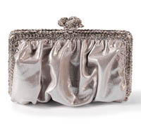 Rent Clutches - Silver Glitter Leather - Clara Clutch  | Rental Price - $90.00