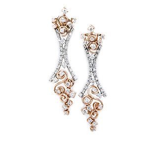 Rent jewelry - Diamonds: 1.50 TW | Gold: 14K White & Rose | Length: 1 3/4 in.