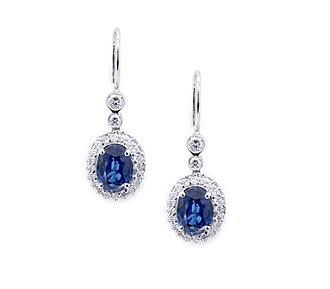 Rent jewelry - Diamonds: .8 TW |Sapphire: 3.07 TW | Gold: 14K White | Length: 1 in.