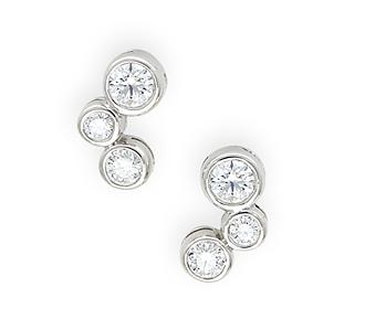 Borrow Jewelry Diamond Bubble Earrings White Gold Stud