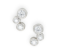 Occasion Fine Jewelry Rental: 3-Stone Diamond Bubble Earrings | Rental Price - $105.00
