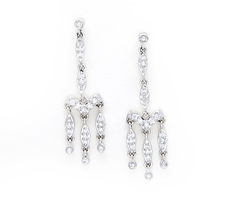Rent jewelry - Diamonds: .70 TW | Gold: 14K White | Post | Length: 1 1/2 in.