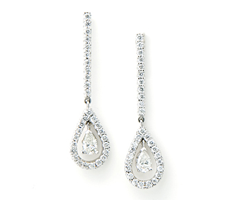 Borrow Jewelry Exquisite Diamond Drop Earrings White