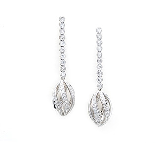 Rent jewelry - Diamonds: 1.00 TW | Gold: 18K White | Post | Length: 1 1/2 in.