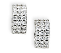 Occasions Jewelry Rental: 3-Row Diamond Huggies Earrings | Rental Price - $85.00