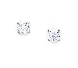 Borrow Jewelry Diamond Stud Earrings Solitaire White Gold Stud