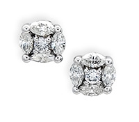 Special Occasion Jewelry Rental: Diamond Cluster Solitaire Earrings | Rental Price - $160.00