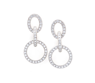 Rent jewelry - Diamonds: 1.72 TW | Gold: 18K White | Post | Length: 1 1/2 in.