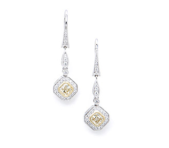 Rent jewelry - Diamonds: Fancy Light Yellow & White 1.11 TW | Gold: 18K White & Yellow| Length: 1 5/16 in.