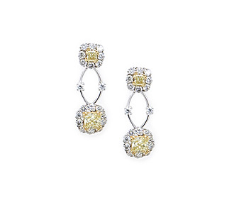 Rent jewelry - Diamonds: Fancy Yellow & White 2.69 TW | Gold: 18K White & Yellow| Length: 1 in.