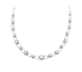 Rent jewelry - Diamonds: Fancy Yellow & White 14.02 TW | Gold: 18K White & Yellow| Length: 16 1/4 in.